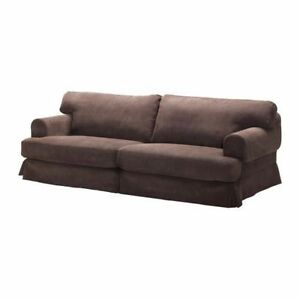IKEA HOVAS  brown corduroy slipcovered sofa