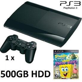 PS3 Super Slim 500GB HDD + SpongeBob Game Bundle for kids