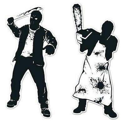 Psycho Silhouettes Cutouts Halloween Wall Door Paper Party Decor](Psycho Halloween Decorations)