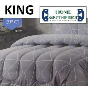 NEW 3PC COMFORTER SET KING HA-1216K 247708825 HOME AESTHETICS 100% POLYESTER BEDDING BEDROOM