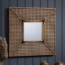 NEW Square Copper Bronze Wall Mirror Metal Bathroom Hall Bedroom Lounge Morrocan 61cm RRP £150