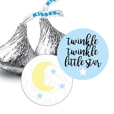 108  Twinkle Twinkle Little Star Boy Baby Shower Hershey Kiss Stickers Blue - Twinkle Little Star Baby Shower