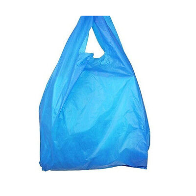 300 x Strong 16mu BLUE Plastic Vest Carrier Bags 11