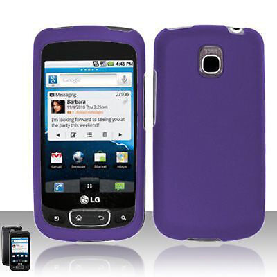 For LG Thrive Rubberized Hard Protector Case Snap on Cover Rubber Dark Purple Dark Rubberized Protector Case