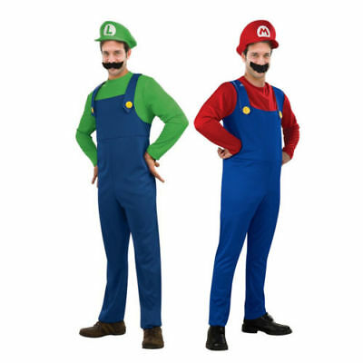 Men's Adult Super Mario and Luigi Brothers Costume Halloween Costume Plumber M00