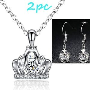 2PC Fashion Hollow Crown Earring + New Crown Pendant Necklace
