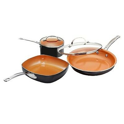 Gotham Steel Copper Kitchen Starter 5 Piece Cookware Set with Nonstick Coating!