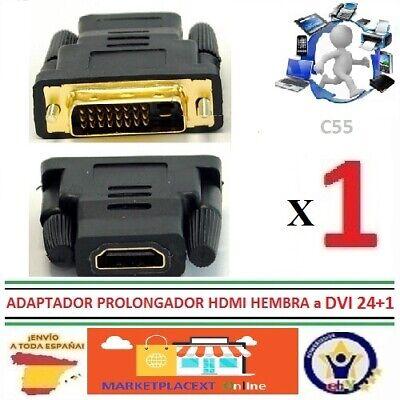 Adaptador Conversor HDMI HEMBRA A DVI 24+1 MACHO Conector Clavija Bañado Oro...