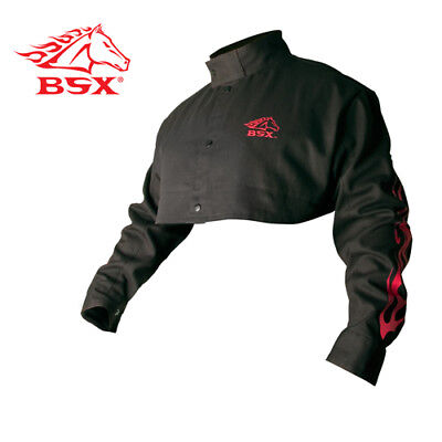 Revco Bx21cs-xl Bsx Flame-resistant Welding Cape Sleeve - Black With Red Flames
