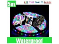 RGB LED LIGHTS WATERPROOF DIY LIGHTING 5M LIGHT STRIPS 300 BULBS FOR HOME AND CAR