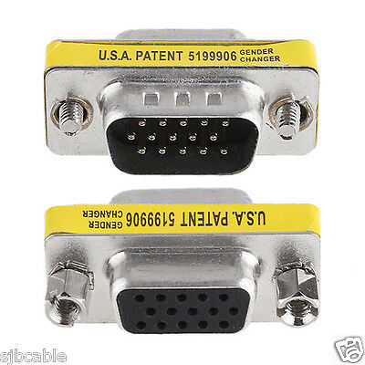 - New SVGA VGA 15 Pin Female To Male M/F HD Gender Changer Adapter Coupler for PC