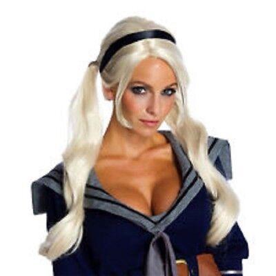 Damen Erwachsene Weiß Blond Deluxe Sucker Punch Babydoll Kostüm Perücke