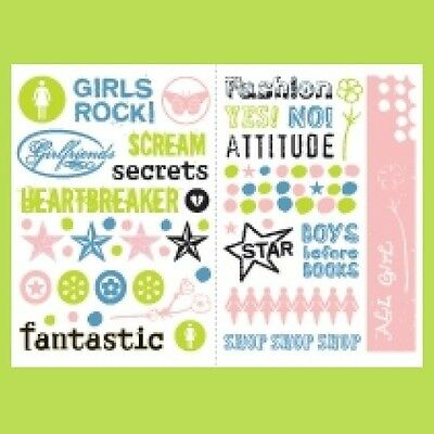 MAKING MEMORIES Rub-On Transfers WORDAGE GIRLS DESIGNS 2 sheets Colored