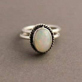 Opal ring real . pearls real