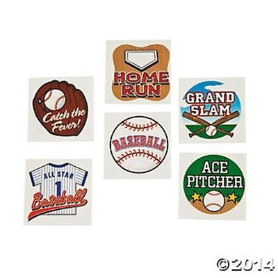 72 Baseball Sports Theme Temporary Tattoos Birthday Party Favors Gifts