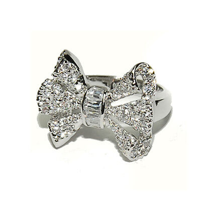 Pave & Baguette Cubic Zirconia Ribbon Ring-Rhodium Plated-CZ