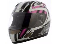 Brand New Ex Demonstration Duchinni D721 Pink Full Face Motorcycle Crash Helmet 4 Star Sharp Rating