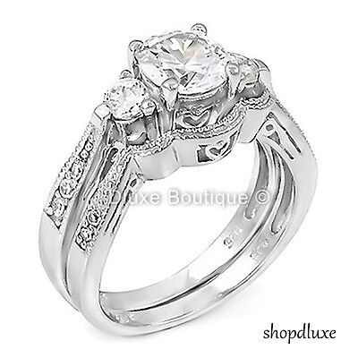 WOMEN'S 2.50 CT ROUND BRILLIANT CUT CZ .925 STERLING SILVER WEDDING RING SET (Brilliant Cut Silver Ring)