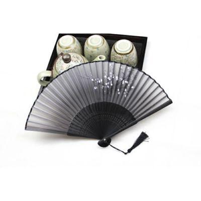Chinese Japanese Folding Hand Held Fan Black Fan Silk Plum Flower Bamboo Pocket](Japanese Fan)
