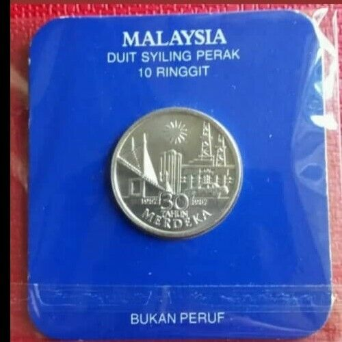 1987 10 ringgit silver coin 30th merdeka independence  UNC/BU perfect condition