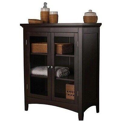 Espresso Floor Cabinet Storage Shelf Bathroom Shelves Home Furniture Linen Towel