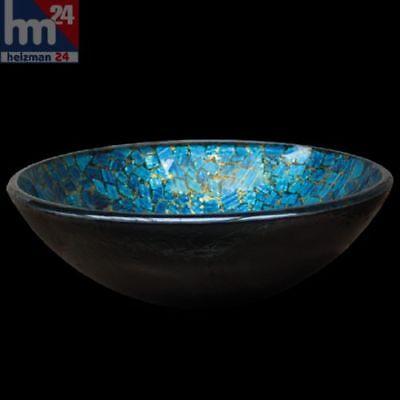 Deepblue Aufsatzwaschbecken Glas Waschschüssel rund Ø 42 cm Handmade