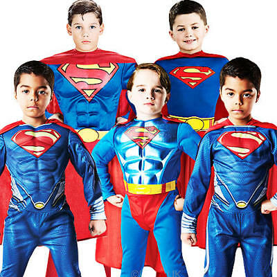 Superman + Cape Boys Fancy Dress DC Comic Superhero Kids Childrens Costumes New