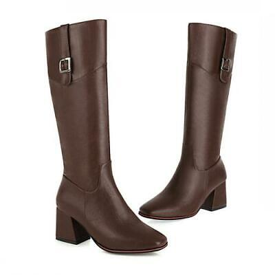 Details about  /46//47//48//49//50 Women Square Toe Western Cowboy Knee High Knight Boots Outdoor L