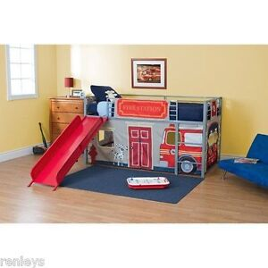 Boys Twin Bunk Bed Fire Department Loft Bed with Red Slide Silver Metal Kid Room