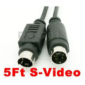 5ft 1.5m S-Video S-VHS Cable 4 pin Male plug to Male HDTV audio video cord 5