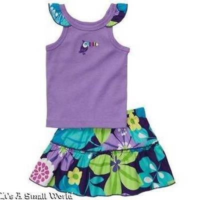 Carters Purple Tank Top & Floral Skort 2 Piece Set Size 6 Months NWT