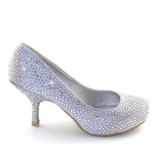 Silver Kitten Heel Wedding Shoes