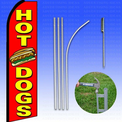 Feather Flag Swooper Advertising Flag Banner Sign 15 Tall Kit - Hot Dogs