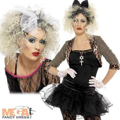 Wild Child Madonna 80s Ladies Fancy Dress 1980s Celebrity Eighties Costume + Wig (Eighties Costumes)