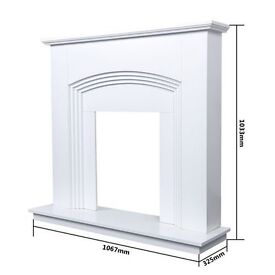 BRAND NEW IN BOX MDF Fire Surround Light Cream Ivory White