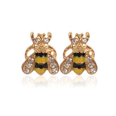 Lovely Jewelry Enamel Rhinestone Bumble Bee Crystal Earrings Animal Ear Stud - Bumble Bee Ears