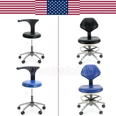 Dentist Assistant Stool Dental Adjustable Mobile Chair Pu Hard Leather 21 26