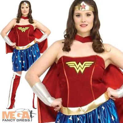 Wonder Woman Fancy Dress Ladies Superhero Costume Plus Size  XL 16 18 20 New