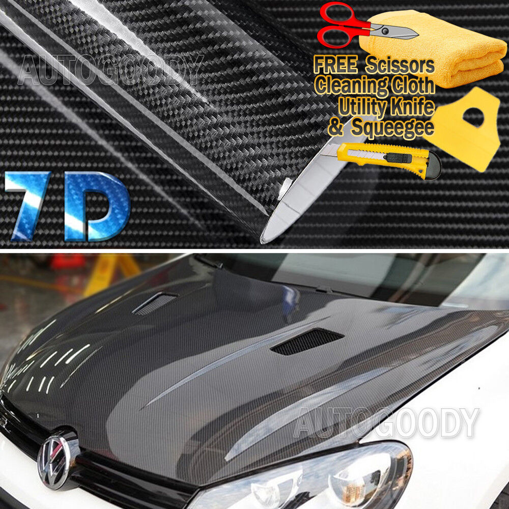 Choose Color:High Gloss Black:7D Premium Super Gloss Carbon Fiber Vinyl Film Wrap Bubble Free Air Release 6D