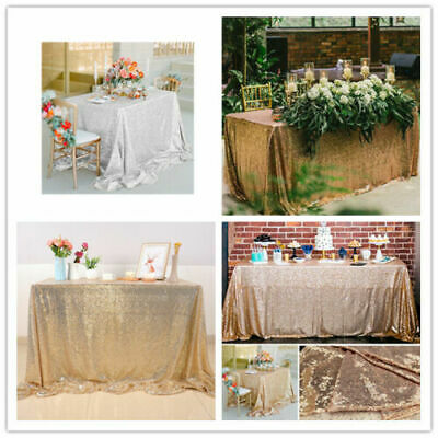 Rectangle Sequin Glitter Tablecloth Sparkly Table Cloth Cover Wedding Party (Rectangle Solid)