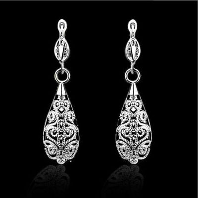 (New 18K White Gold Plated Filigree Water Drop Leverback Dangle Drop Earrings)
