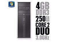 Fast HP Dual Core 3.0GHz 4GB 250GB Desktop PC Tower Win 7 WiFi