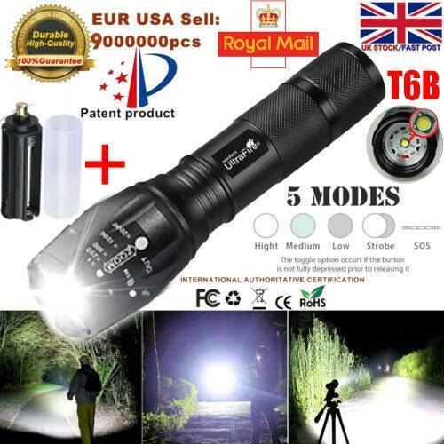 LED Torch USB Rechargeable Flashlight Police Tactical Zoom Camping Lamp 18650