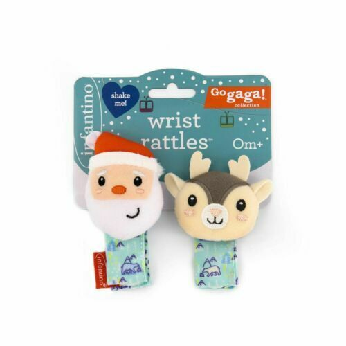Baby Newborn Infantino Go Gaga Santa & Reindeer Christmas Gift Wrist Rattles Set