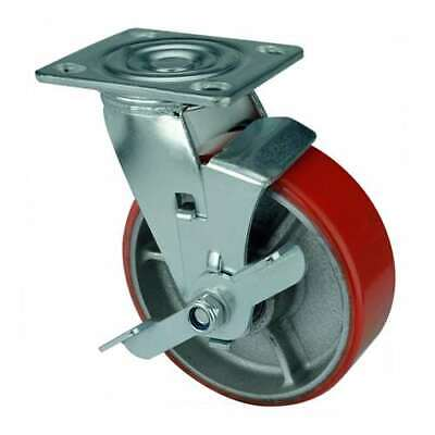 6 Inch Caster Wheel 992 Pounds Swivel And Center Brake Cast Iron And Polyureth