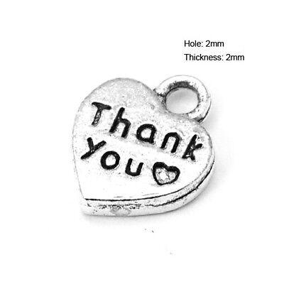 Packet 30 x Antique Silver Tibetan 12mm Thank You Charm/Pendant ZX02790