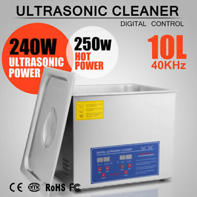 New 10l Ultrasonic Cleaner Stainless Steel Industry Heated Heater With Timer Usa