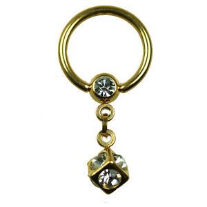 gold ring mit 5mm w rfel kristalle intim piercing ohr. Black Bedroom Furniture Sets. Home Design Ideas