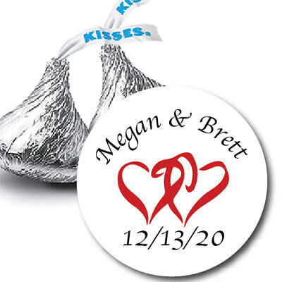 108 Wedding Hershey Kisses Favors Double Linked Hearts Party Suplies Stickers Kisses Wedding Favors
