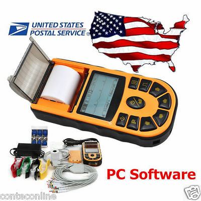 Usa Fedex Shipping Hand-held Ecgekg Machine Electrocardiograph Pc Software 80a